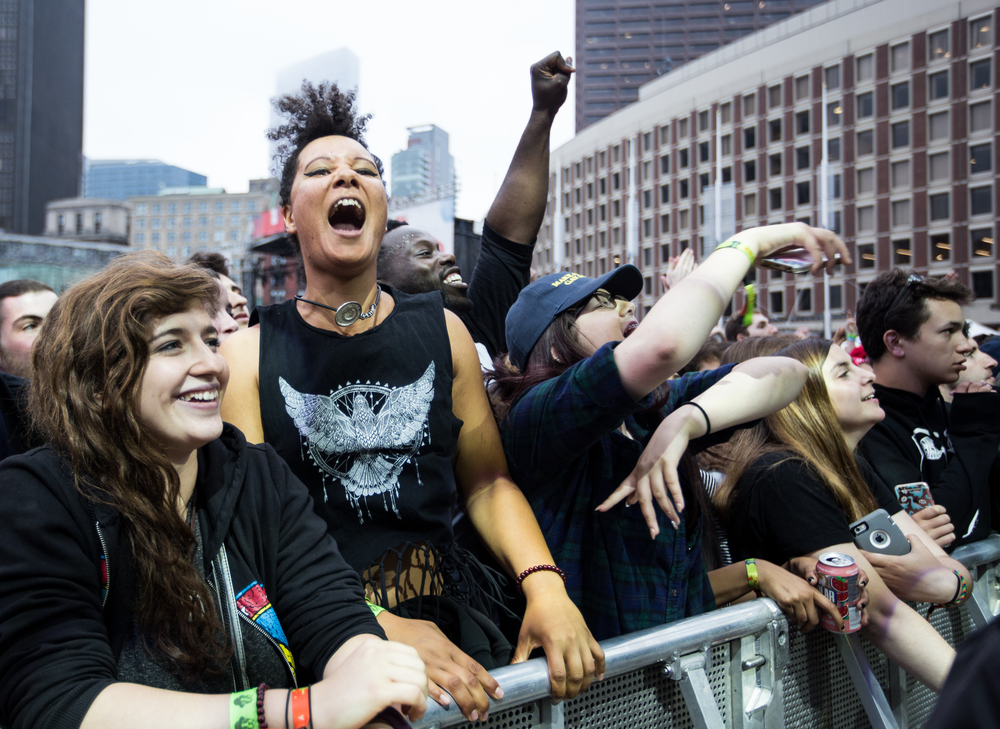 Fans react as Janelle Monáe takes the stage on Sunday.