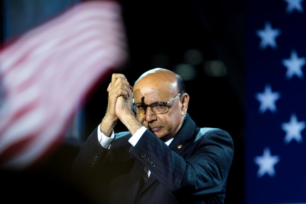 Khizr Khan, the father of a Muslim U.S. soldier killed in Iraq, thanks the crowd at the end of his speech outside the Jacob K. Javits Convention Center Nov. 8, 2016. Khan became an icon of Clinton's campaign after delivering a speech at the Democratic National Convention criticizing Trumps anti-Muslim rhetoric.