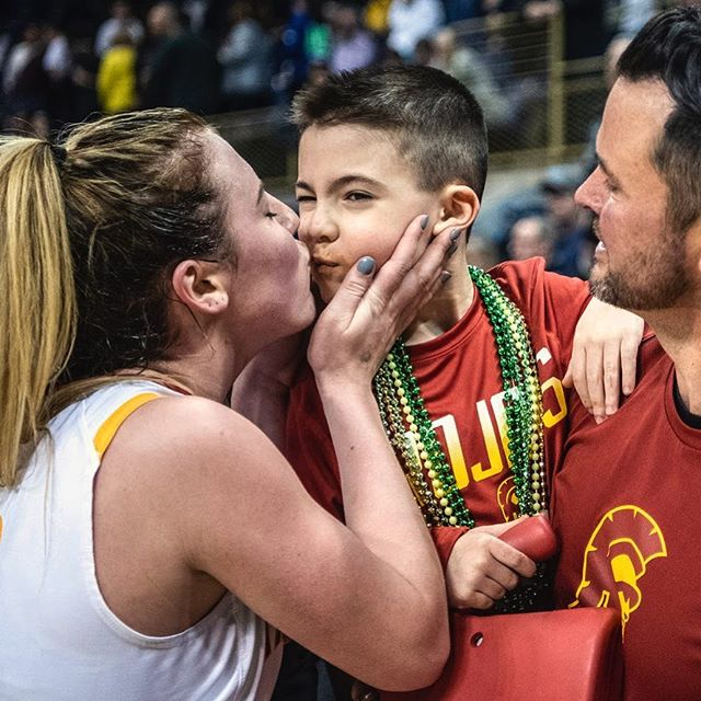 One more from yesterday: North Catholic's Cassie Foster gives her little brother Cruz, 6, a kiss after her team's victory in the WPIAL Class 4A championship game last night at the Petersen Events Center in Oakland. (Alexandra Wimley/Post-Gazette)