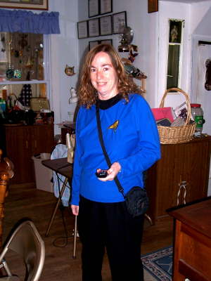 My mom as Dr. Beverly Crusher in the Star Trek Mystery.
