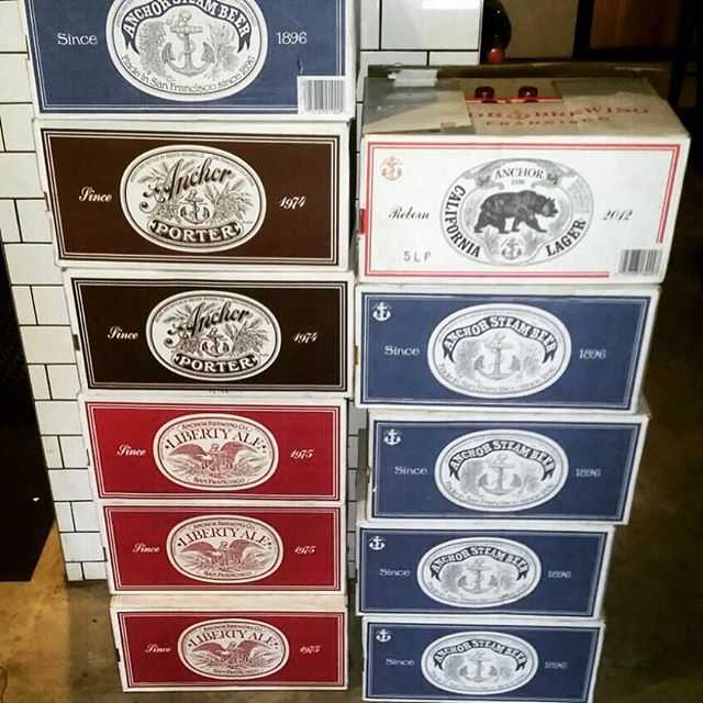 Our delivery just arrived for today/tonight. Liberty Ale, Steam Beer, Porter and Californian Lager. Cheers @anchorbrewing reservations still available for tonight. @coalandcedar is also open.