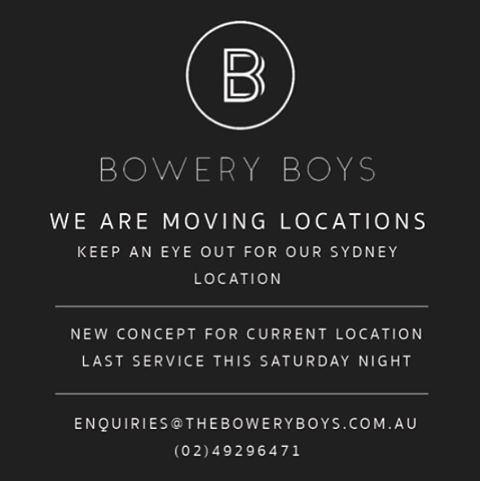 All those that love what we do in Newcastle we bring sad news. We are moving Bowery Boys to Sydney. But there is some good news. We have an awesome new concept going in The current location. Follow @bronxpizza for opening dates. Hopefully see you all this week. Last service in Newcastle is Saturday night.