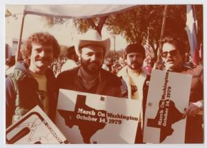Haberman (right) attends the March on Washington in 1979