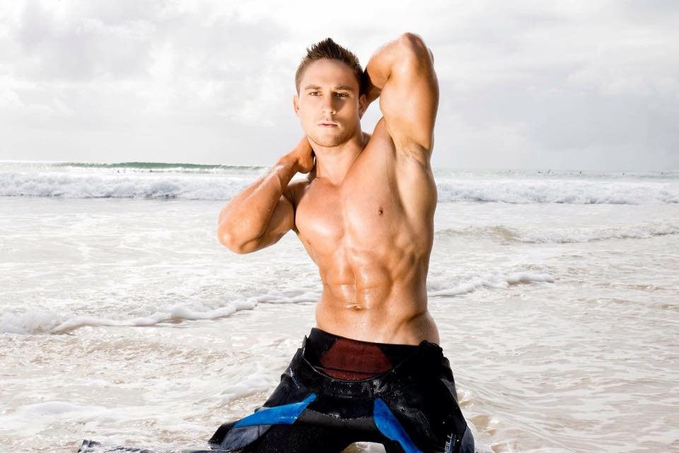"Male stripper ""Tommy Gun"" surfer theme photo shoot"
