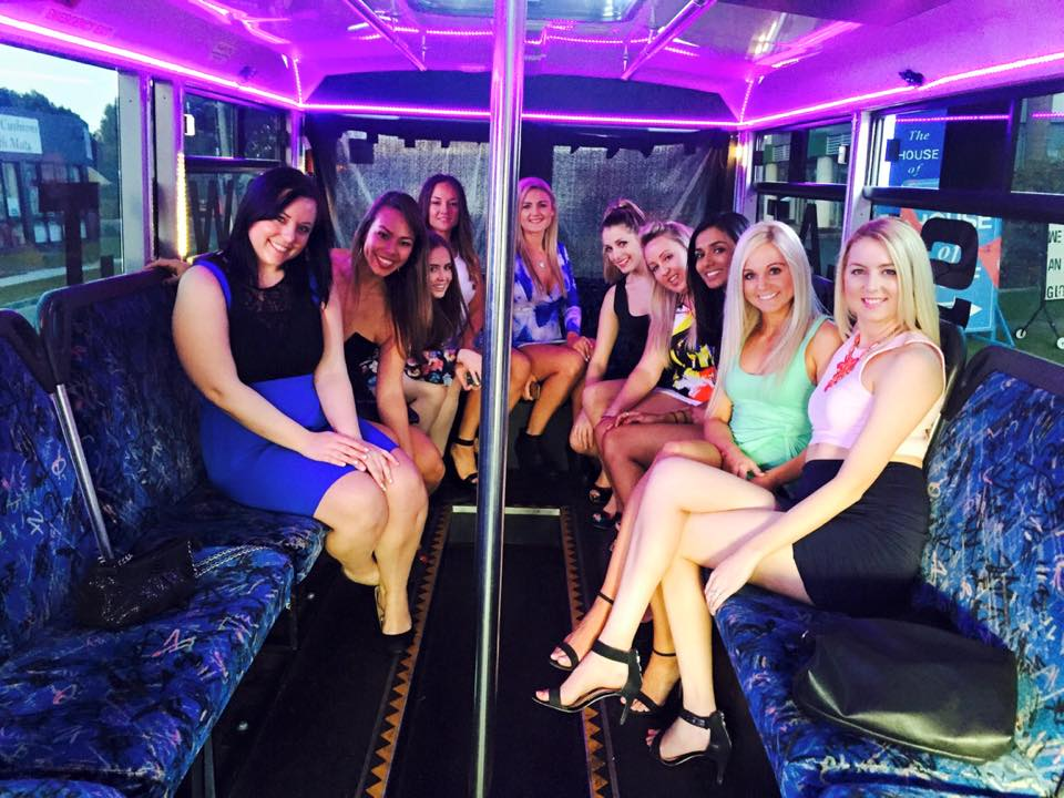 A hens party having loads of fun in the gold coast, on the party bus male stripper tour.
