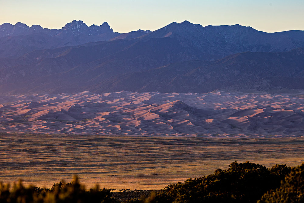 Star dune can be seen rising above the other sand dunes. taken from zapata falls trailhead at sunset