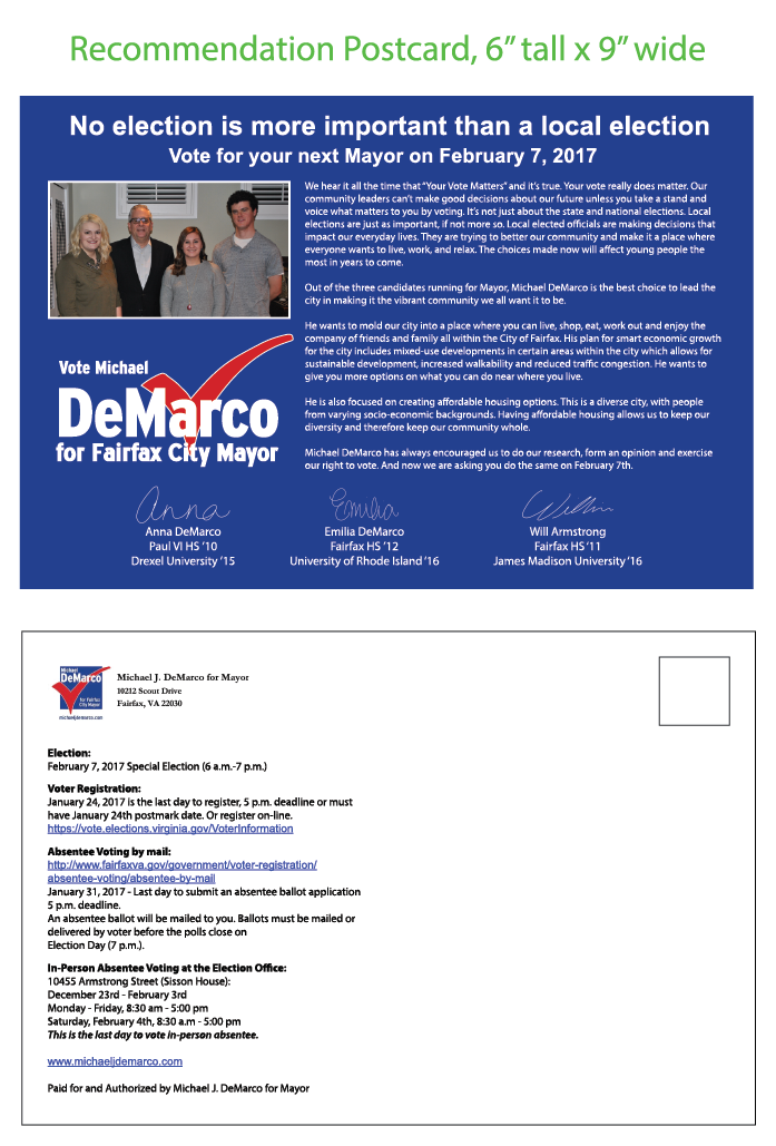 Micheal J. DeMarco Mayoral Mailing #2