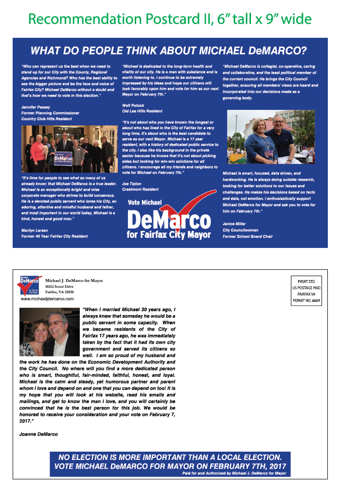 Michael J. DeMarco Mayoral Mailing #3