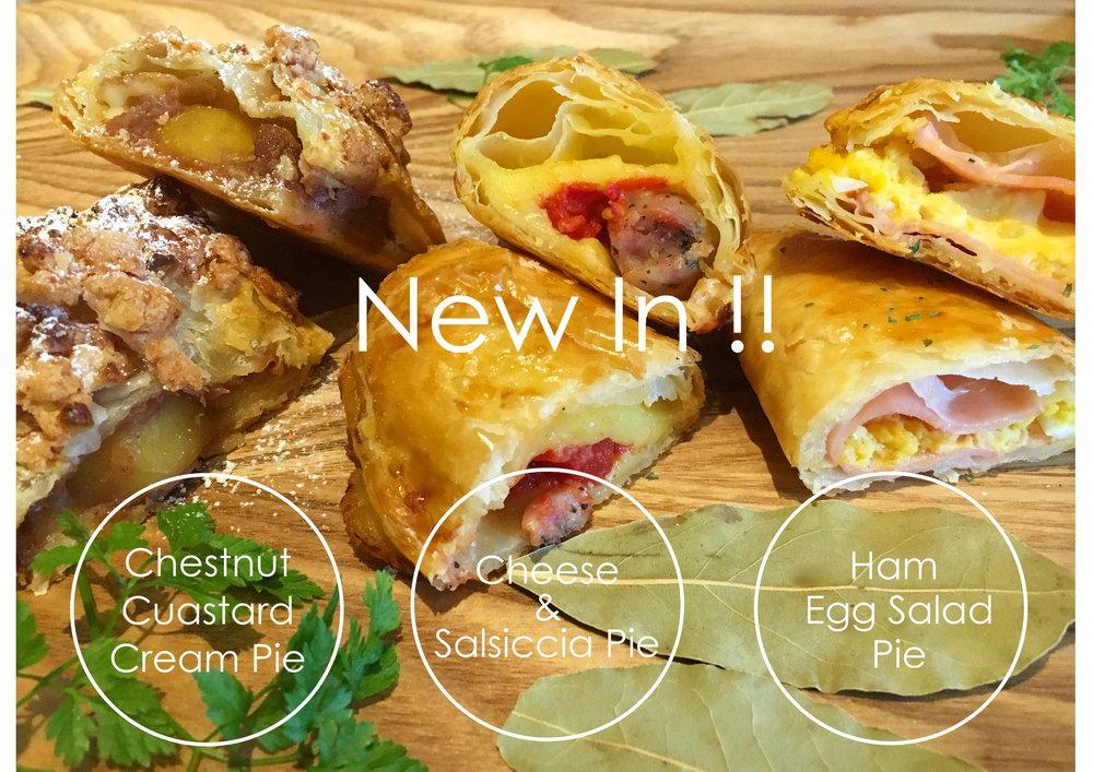 食欲の秋もすぐそこ。 DECKでは3種類のワンハンドパイが仲間入り☺︎ この季節恒例の【Chestnut Custard Cream】、 ピザ好きにもオススメの【Cheese & Salsiccia】、 レモンやシーズニングをちょっぴり効かせた【Ham Egg Salad】、 特製サラダボウルやプチクレミアSETでもお選び頂けます♡