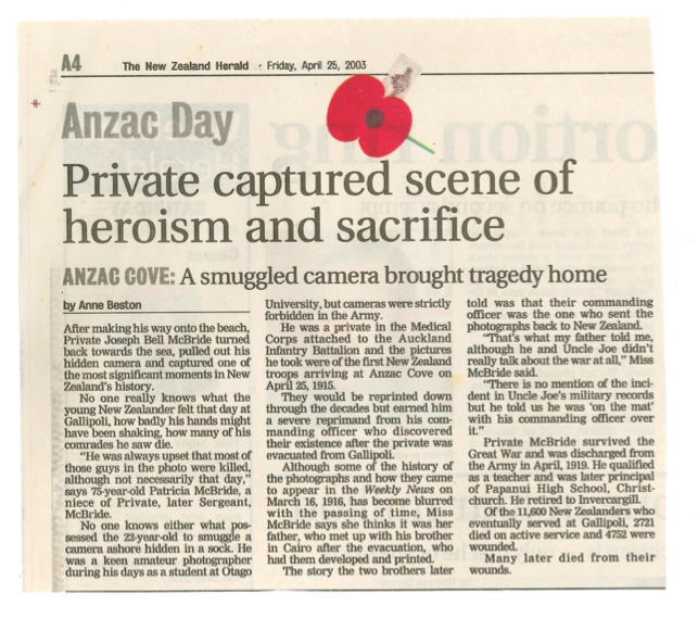 """NZ Herald April 25th2003 article """"Private captured scene of heroism and sacrifice""""."""