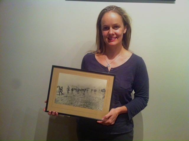 Heidi Howard, with an original Gallipoli landing photo print Joe's daughter Phyllis McBride received