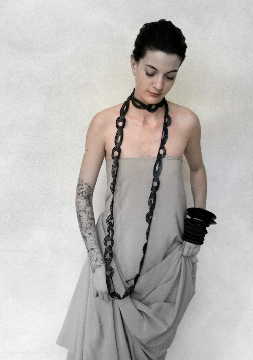 recycled tyre rubber designer handmade necklace