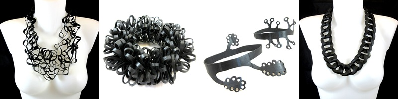 recycled tyre rubber designer jewellery