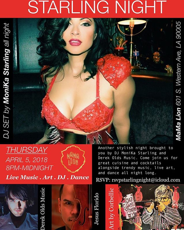 🎩Hello!! Here is tomorrow night's invite 4.5.2018 for my Starling Night Party. VENUE : Mama Lion.💯Don't forget to RSVP. Thank you for your constant support! :) DJ Monika Starling will be spinning more tropical house, electronica and lounge pop and I will be performing some new songs live with #violinist Jesus E. Florido We will  also have an art show, & dance performance. NO COMEDY this week!  #starlingnight #livemusic #dj #art #dance #cocktails #cuisine #latenight #musicians  #performance #showtime #liveshow #model #red #reddress #violin #artist #design #party #partyplanner #koreatown #losangeles #lalaland #cityofangels