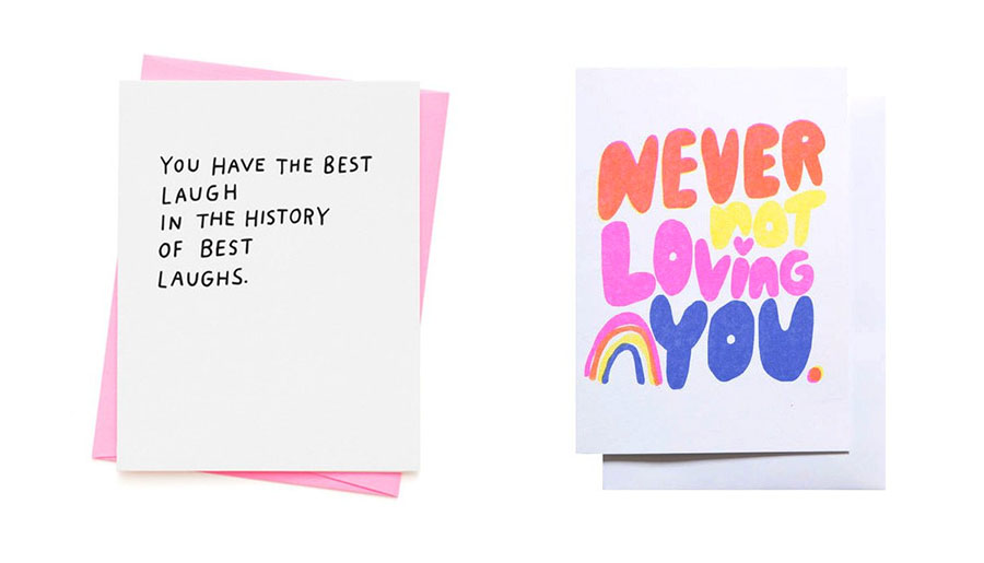 Best laugh card  and Never not loving you card (images by Burro)