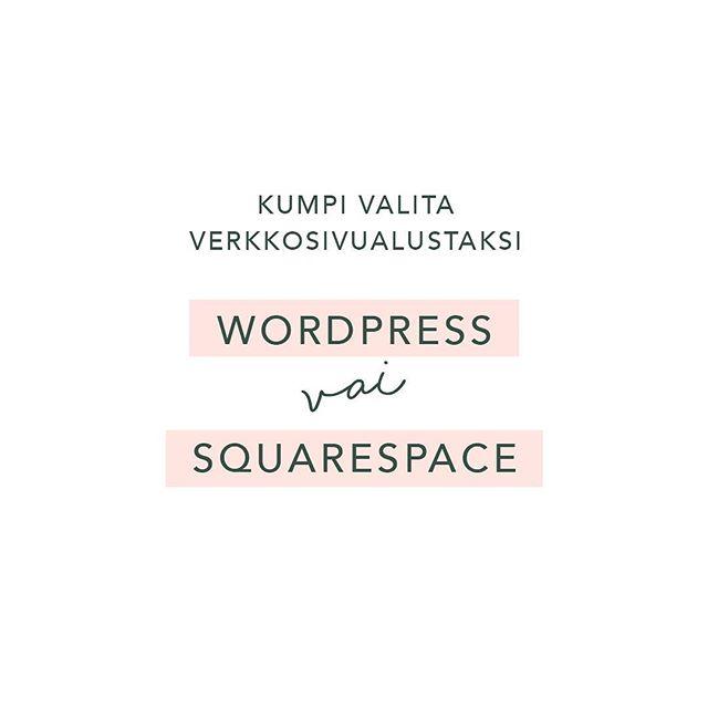 Kun aiot tehdä nettisivut sinun tulee ensin valita nettisivujen alusta mille se tehdään. Näen paljon keskusteluja missä ihmiset puhuvat Wordpressin puolesta, koska se on niin hyvin muunneltavissa ja monipuolinen. Olen itse kuitenkin sitä mieltä, että Wordpressin hyödyt korostuvat kun tarvitaan kustomoitua sivustoa ja perus nettisivun toiminnot täyttää paljon käyttäjäystävällisemmin ja paremmin Squarespace -alusta. Työtaustani puolesta olen ollut vetämässä useita Wordpress -projekteja ja alustana se on oikein pätevä kun tarvitaan kustomoituja ratkaisuja. Yleensä pienyrittäjät eivät näitä kuitenkaan tarvitse ja koska Squarespacen käyttö on huomattavasti helpompaa, suosin sitä alustana etenkin pienyrittäjille. Lue tarkempi vertailu blogista ja suosittelun syyt blogistani. Linkki löytyy profiilista 🔝 . #nettisivut #wordpress #squarespace #bloggaajat #yrittäjät #taruhannawork #pienyrittäjät #blogipostaus #verkkosivut