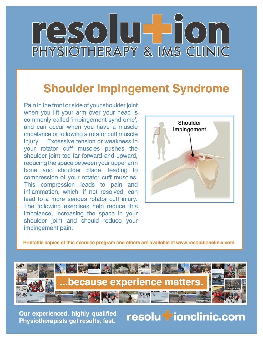 exercises for shoulder impingement pdf