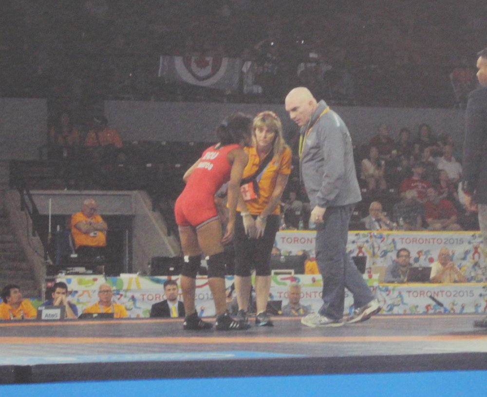 mandi hayes on the mat at panam games, toronto