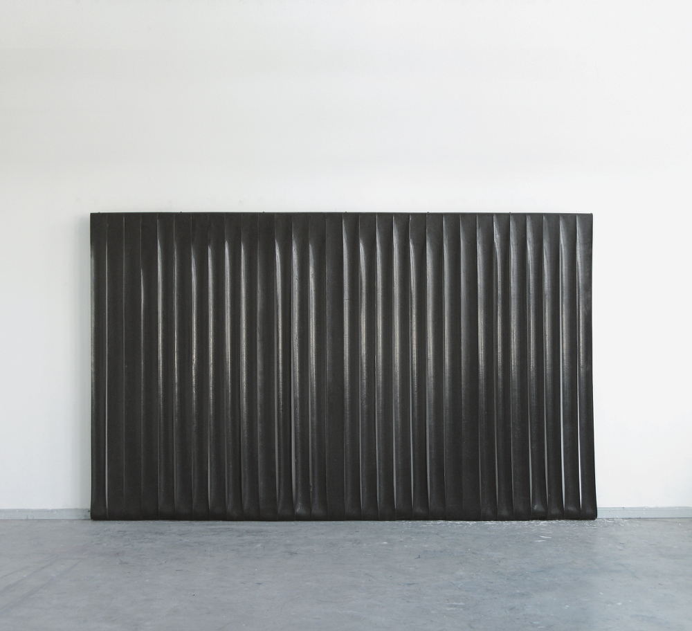 Untitled, 2011. Silicone, pigment, cotton, steel 270 x 440 cm