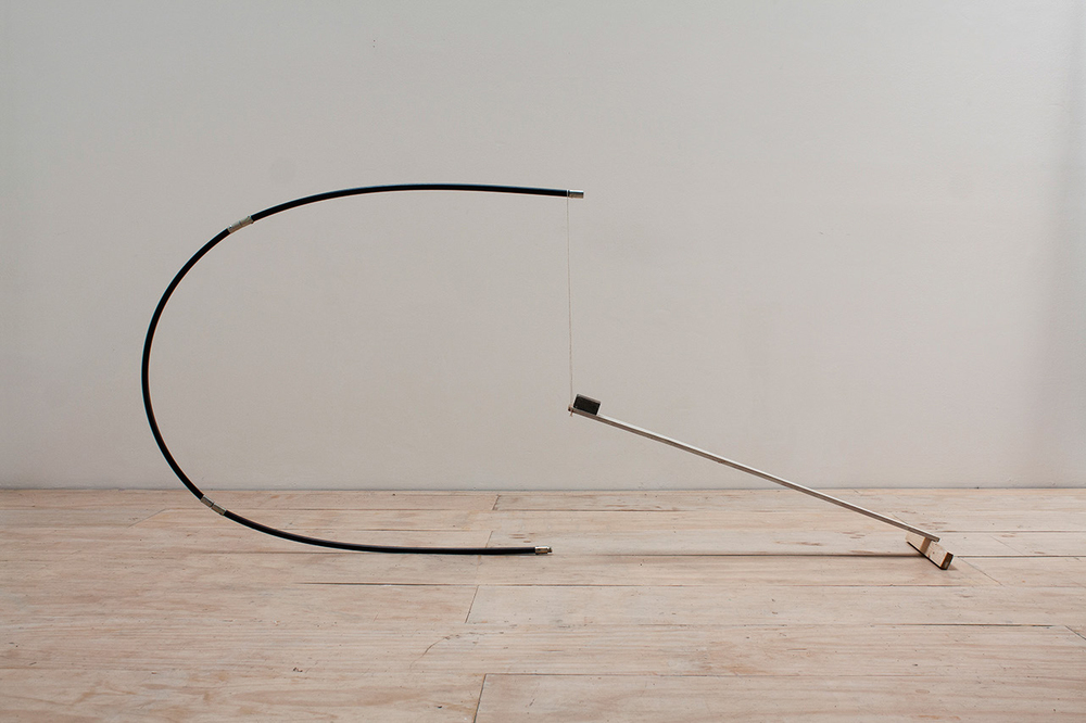 Supportive Curve 1, 2014, Wood, Plastic, String and Stone