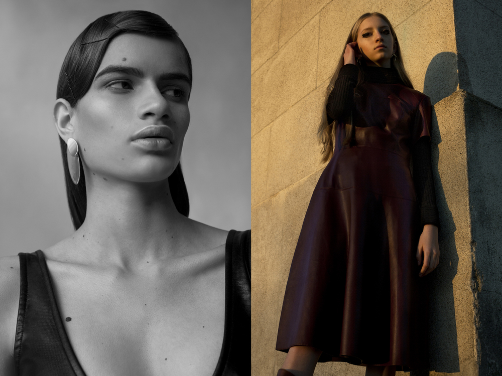 Linda wears dress SAINT LAURENT earrings COS. Iman wears turtleneck PROENZA SCHOULER leather dress GUCCI