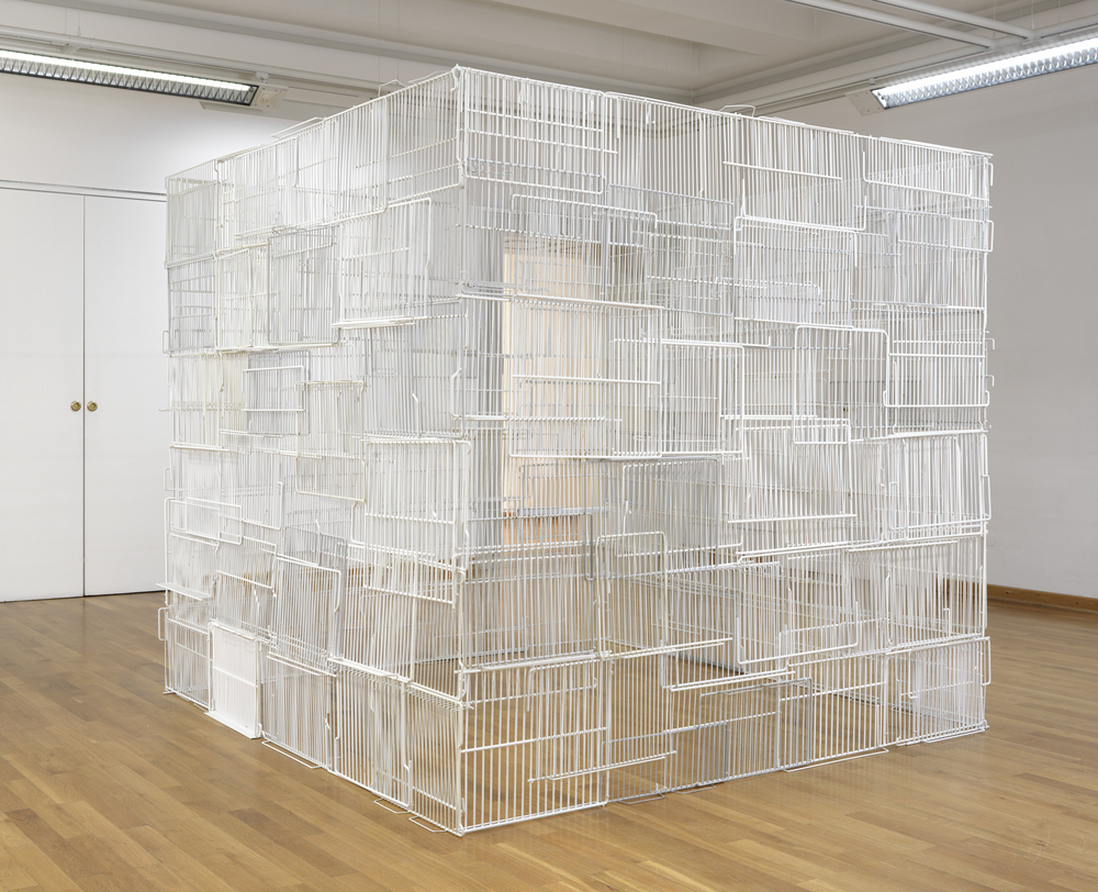 Untitled, 2012, refrigerator shelves, cable ties, 190 x 210 x 210 cm