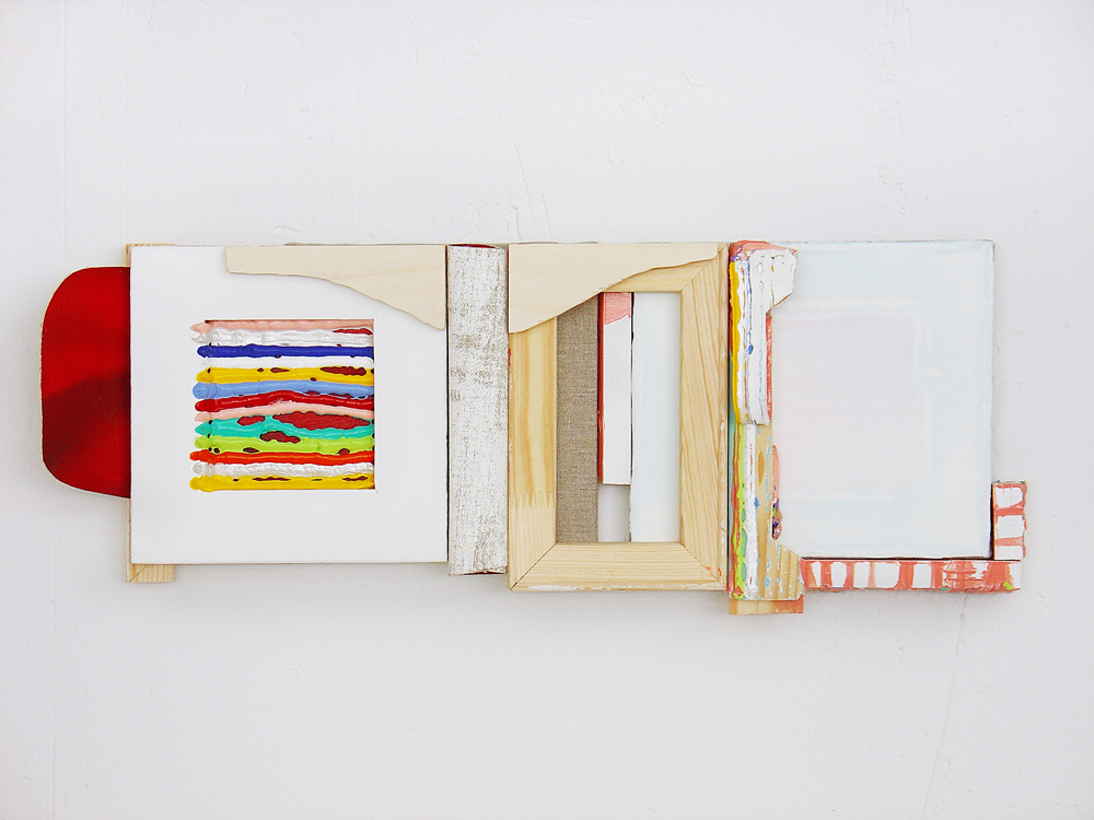 Mensaje III, 2008, oil, acrylic, vynil, resin, polyester, canvas and stretchers, 24 x 64 x 5 cm.