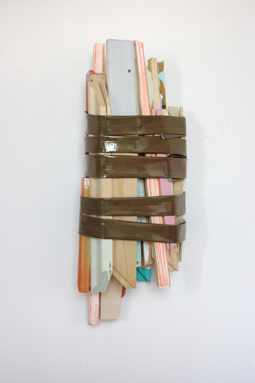 LOT (Nº9), 2010, trials and leftovers of several painting attached with canvas, 59 x 27 x 18 cm