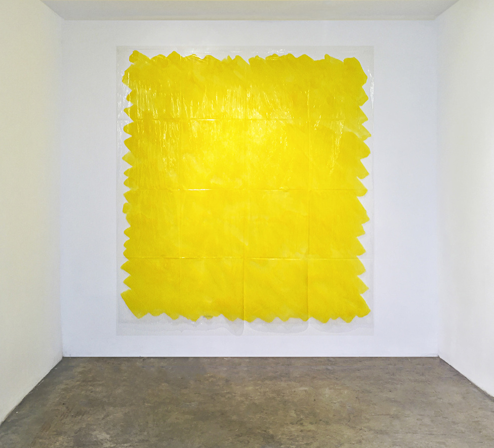 Quantitá di giallo, 1989, colored ink on transparent polyethylene, 200x 200 cm