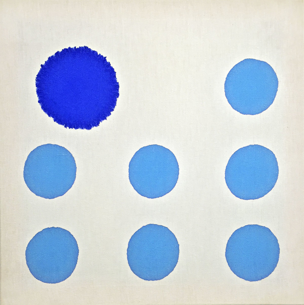 Canvas Injections C, 1980, Blu Ultramarine, cmc 3.5/cmc 0.5 x 7, 47 x 47 cm