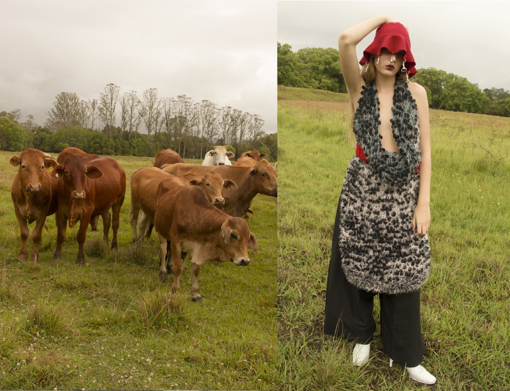 hat AIDAN RENATA knitted dress ISABEL WENGERT pants LOUISE VICENZINO boots CIELLE MARCHAL