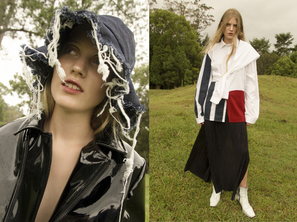 patent jacket JONATHON RAE frayed denim hat AIDAN RENATA. tie shirt AIDAN RENATA pleated dress and boots CIELLE MARCHAL