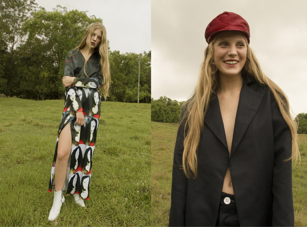 all clothes CIELLE MARCHAL. hat STYLIST'S OWN suit AIDAN RENATA