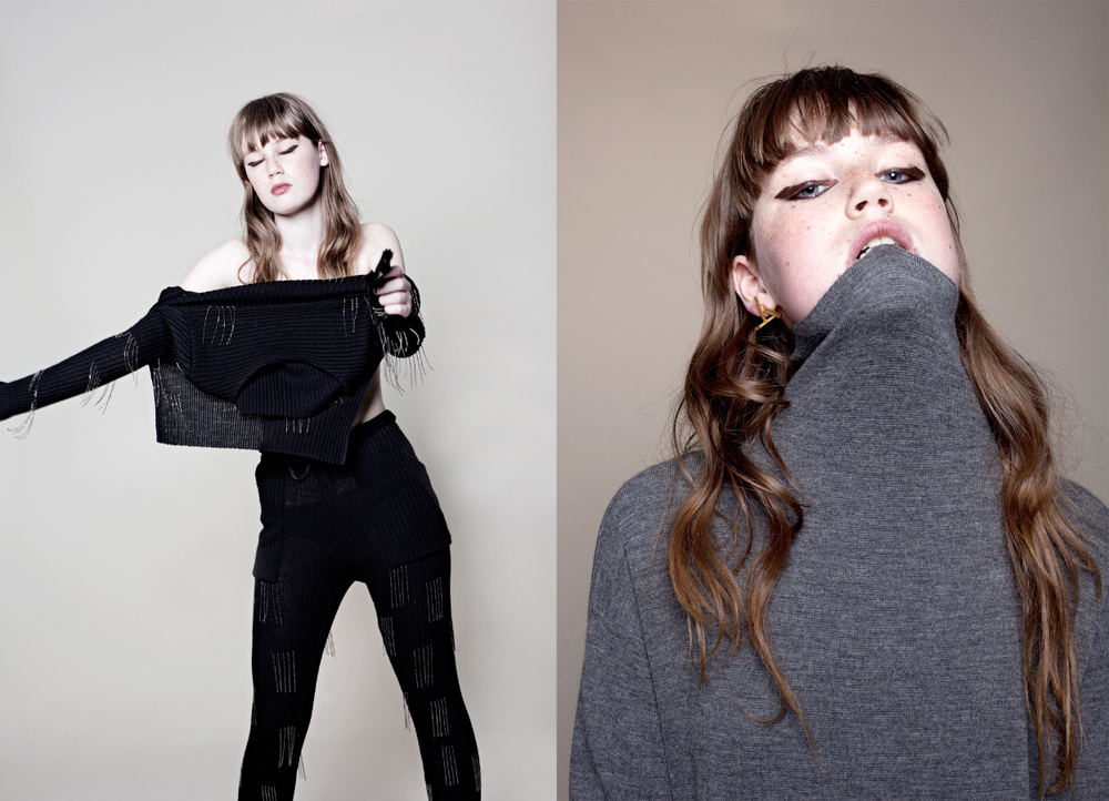 all clothes   HOMO CONSOMMATUS  . jumper   HALLHUBER   earrings   CHARLOTTE VALKENIERS