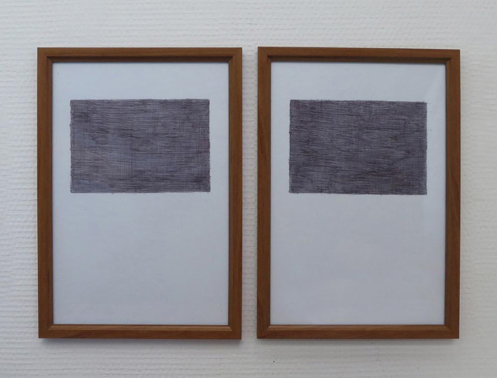 Sans Titre (Silences), 2015, biro on paper, frames, 31,7 x 45 cm