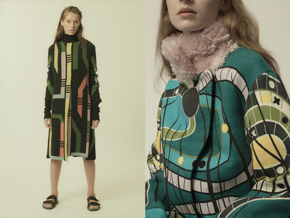 Lily wears coat PETER PILOTTO turtleneck dress KENZO sandals MEHLE. Esme wears coat PETER PILOTTO