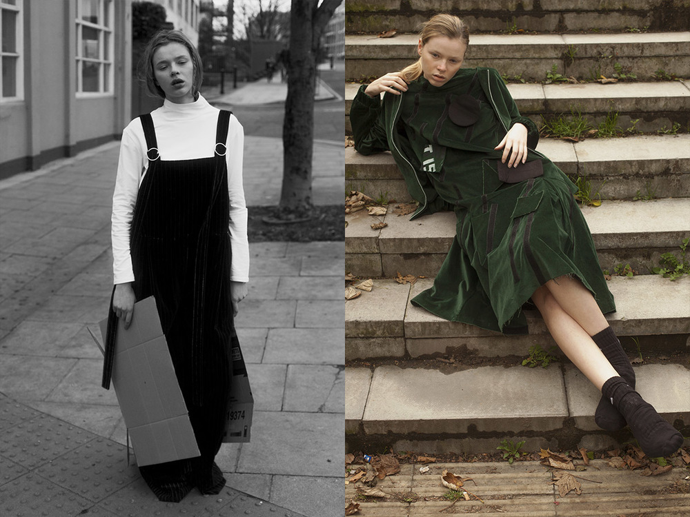 roll neck GEORGINA M HUNT dungarees MARTA JAKUBOWSKI shoes STYLIST'S OWN. dress and bomber jacket MÊHLÊ socks NIKE