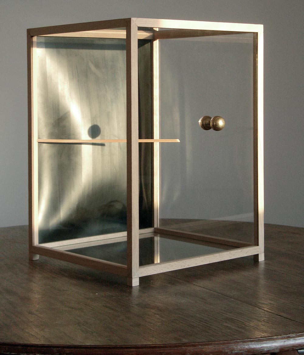 Höhere Gewalt (ausgeschlossen), 2007, wood, glass, rubber, brass, 41 x 30 x 30 cm