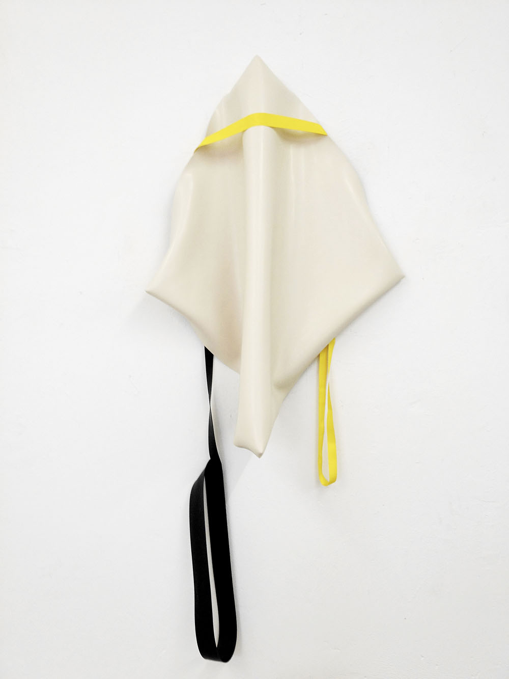 Nonmember with yellow and black, 2011, rubber, nylon, 145 x 80 x 10 cm