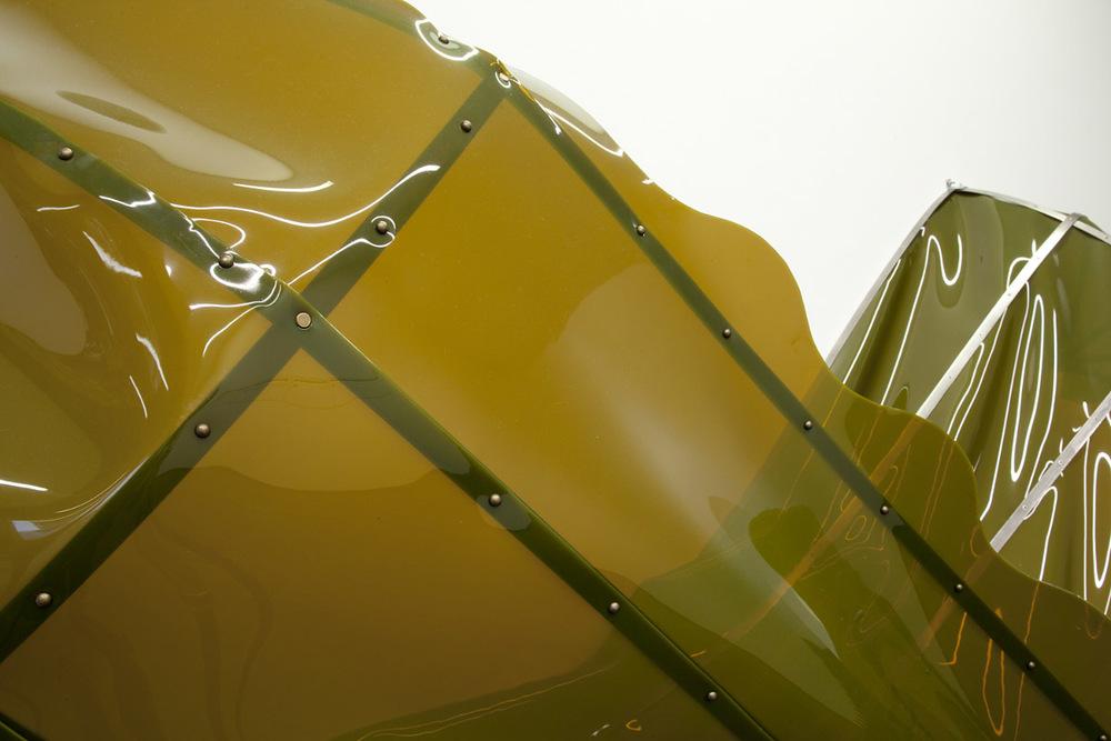 Topsy Turvy (details),2012, vinyl, stainless steel, copper, 80 x 230 x 100 cm