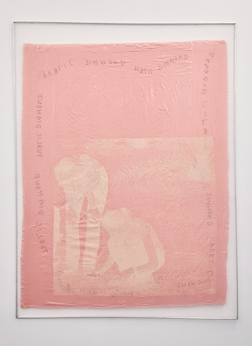 Screen in Dirty Desert Rosé, 2015, screen print on fabric, glue, aluminium, 121x160cm