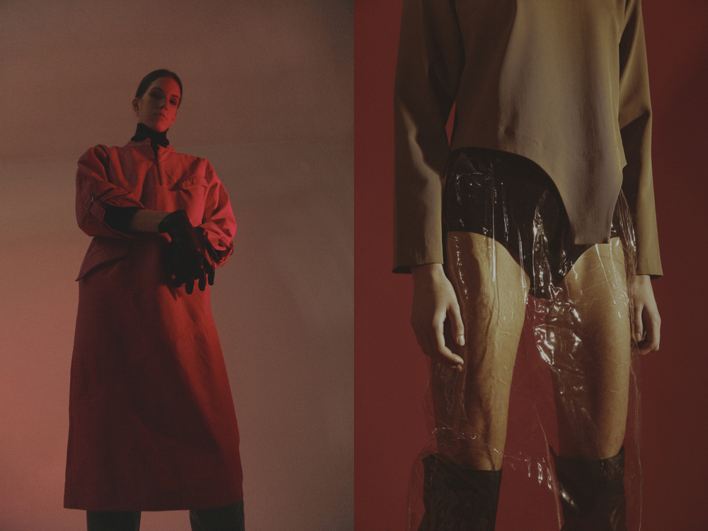 black turtleneck leather vintage dress and leather gloves STYLIST'S ARCHIVE leather boots STIÙ. shirt JACQUEMUS culottes and pvc skirt STYLIST'S ARCHIVE leather boots STIÙ
