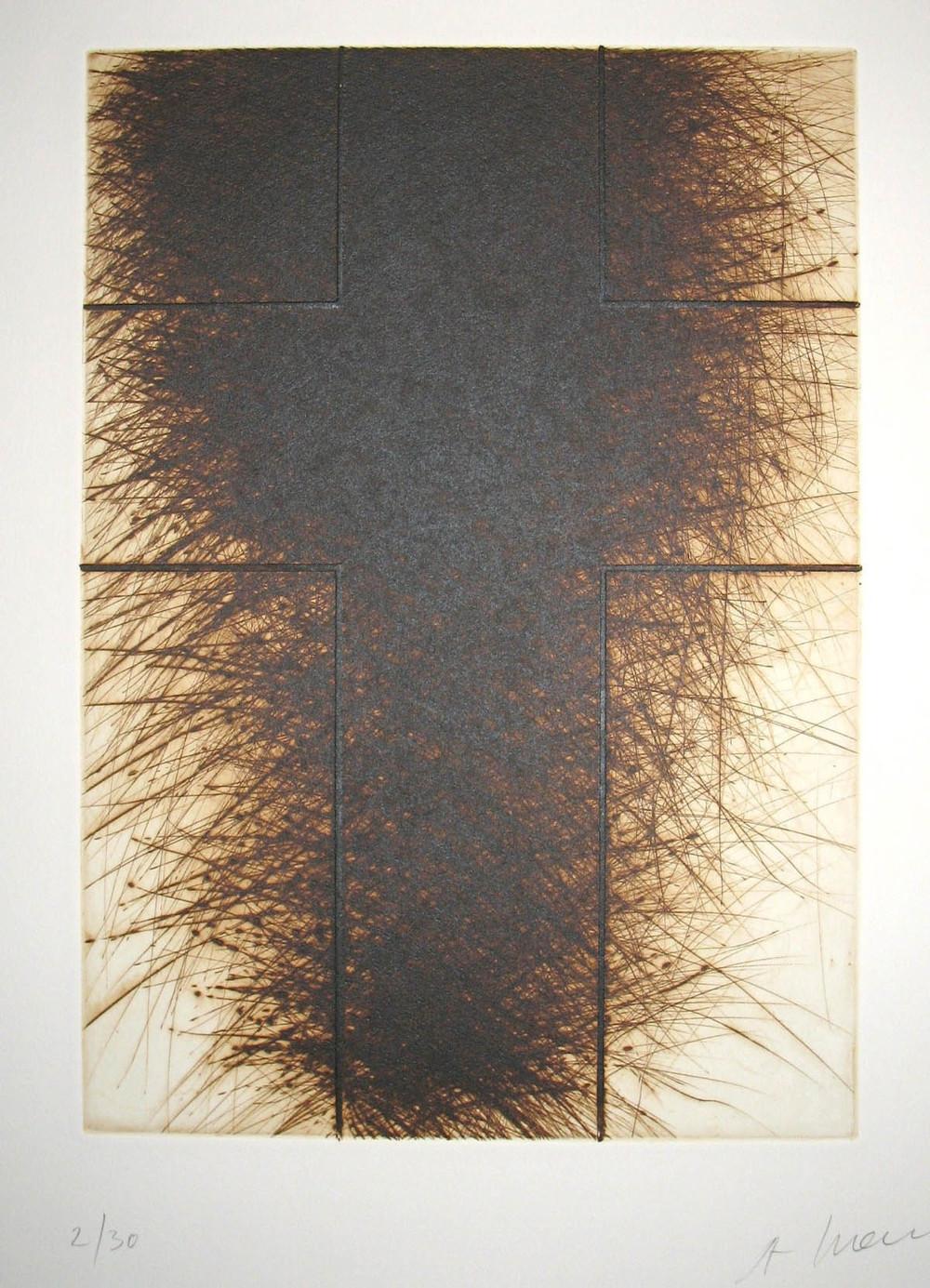 Kreuz, braun dunkel, 2009, etching, 67,5 x 50 cm