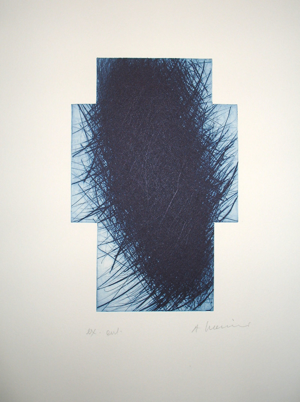 Kreuz, schwarz blau, 2002, etching, 53 x 39,6 cm