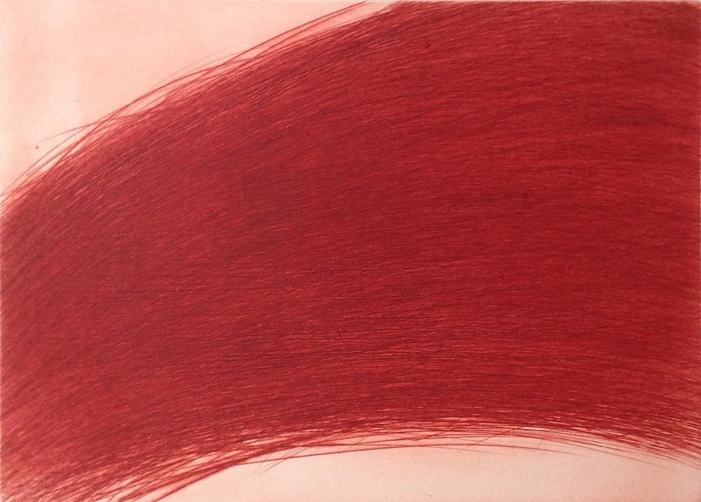 Paysage rouge brique, 1987, etching, 45,5 x 55 cm