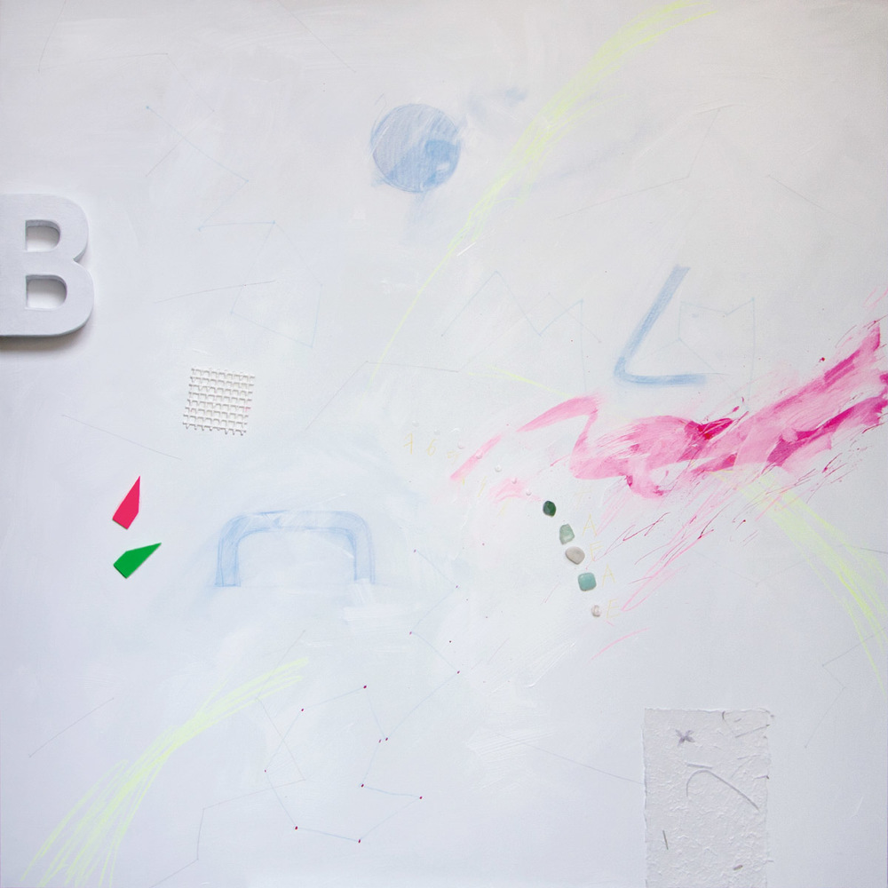 Spacevisual 13, 2015, acrylic, stones, wire, paper, graphite on canvas, 100x100 cm
