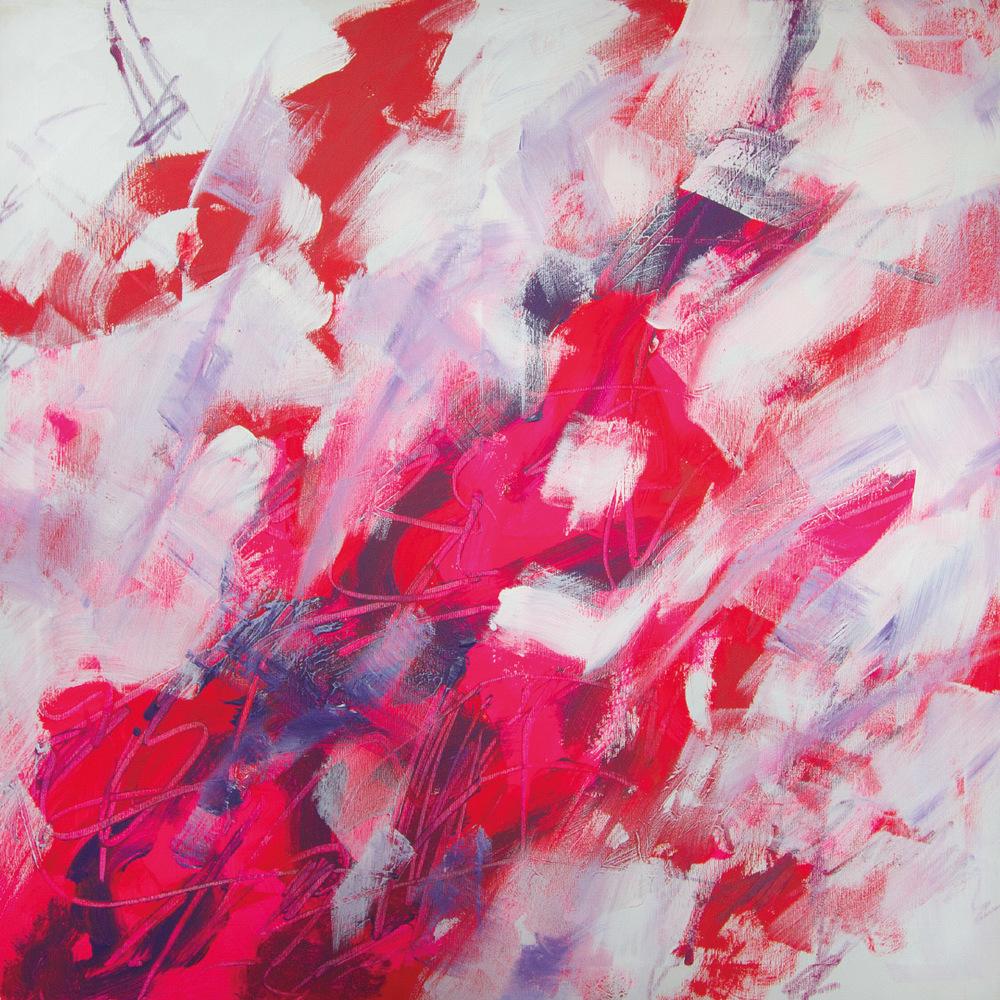 Fivesenses (Cubo) Taste, acrylic, graphite, plexiglass, pigment, plastic mesh on canvas, 80x80x80 cm