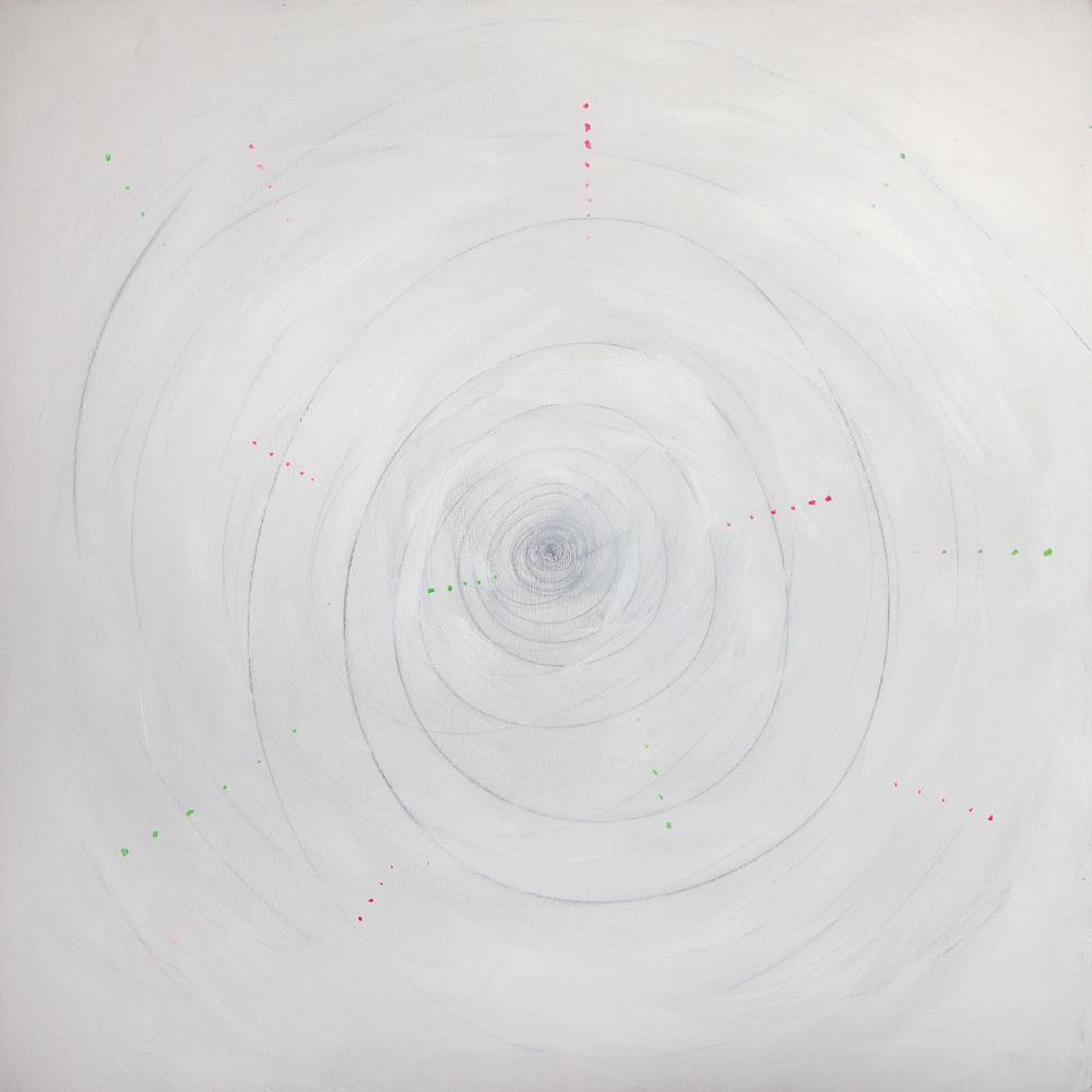 Fivesenses (Cubo) Hearing, acrylic, graphite, plexiglass, pigment, plastic mesh on canvas, 80x80x80 cm