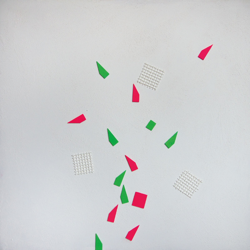 Fivesenses (Cubo) Touch, acrylic, graphite, plexiglass, pigment, plastic mesh on canvas, 80x80x80 cm