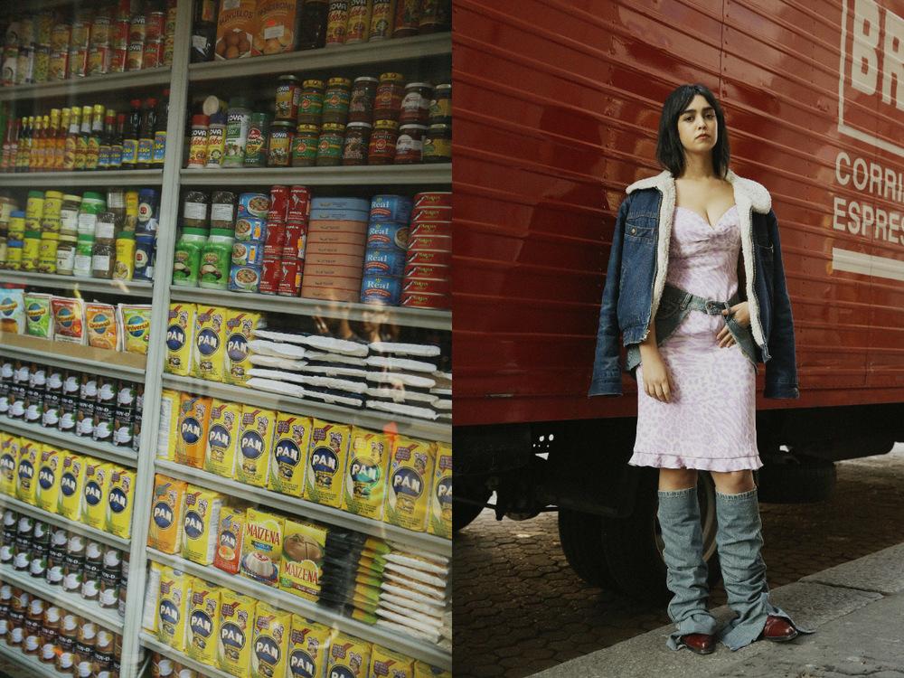 jacket, denim belt,legwarmers and boots STYLIST'S ARCHIVE dress VINTAGE ESCADA